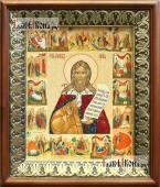 Илия Пророк с житием икона на холсте в киоте-рамке