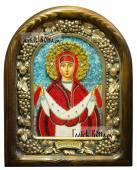Покров Пресятой Богородицы (красные одежды), икона бисером