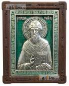 Спиридон Тримифунтский, икона серебряная с эмалью, артикул 13202