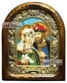 Петр и Феврония (с голубем, поясные), икона бисером