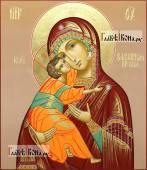 Образ Владимирской Божией Матери коричневый фон