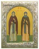 Кирилл и Мария Радонежские, икона в ризе с классическим узором