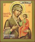 Богородица Иверская, писаная на доске икона, с узорами на нимбах