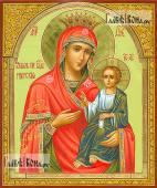 Иверская Пресвятая Богородица, в афонском стиле, с узорами на полях