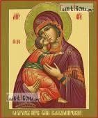 Владимирская Божия Матерь, рукописная икона с оливковыми полями