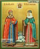 Писаная икона Петра и Февронии благоверных оформление: злочение и зеленые поля