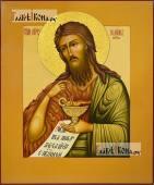 Иоанн Предтеча (с Агнцем), писаная икона с узором на нимбе