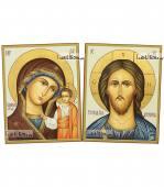 Венчальная пара рукописных икон (старинный стиль)