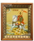 Александр Невский князь - икона на холсте в киоте-рамке