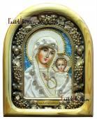 Казанская - икона дивеевская в бархате со светлым киотом