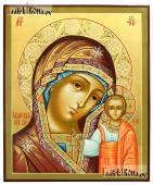Божия Матерь Казанская писаная икона с золочением и узорами на нимбе
