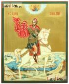 Князь Юрий Всеволодович, рукописная икона с пейзажем