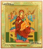Писаная икона Всецарица, оформленная чеканкой и узорами