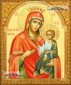 Иверская Пресвятая Богородица в афонском стиле с узорами на полях