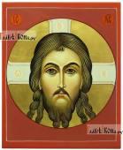 Спас Нерукотворный на красном фоне писаная икона