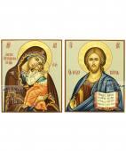 Венчальная пара рукописных икон с Господом и Ярославской Божией Матерью