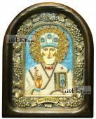 Николай Чудотворец (в митре, с голубыми камнями), икона бисером