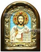 Господь Вседержитель (белые одежды), икона бисером