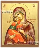Владимирская, икона писаная с золочением, коричневые поля