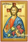Христос Виноградная Лоза писаная икона с золочением и ковчегом