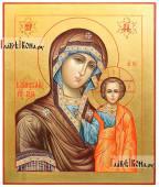 Казанская Божия Матерь рукописная икона стиль 18 века с золочением