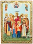 Семейная икона с восемью святыми покровителями Богородицей и Архангелами