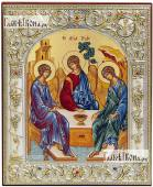 Троица - греческая икона в ризе, 12х14 см