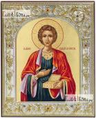 Пантелеймон - икона серебряная размер 12х14 см