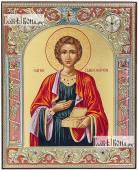 Икона Пантелеймона в окладе, греческая, 12х14 см