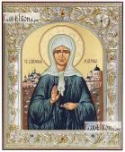 Святая Матрона, икона из Греции, в окладе, 12х14 см