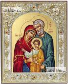 Святое Семейство икона серебряная греческая 12х14 см
