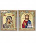 Венчальная пара с Казанской в серебряных окладах с золочением и эмалью 12х14 см