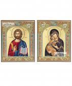 Венчальная пара икон с Владимирской в окладах греческие