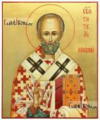 Писаная икона святителя Николая без митры с золочением фона