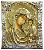 Писаная икона Казанской Божией Матери в окладе