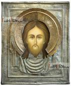 Рукописная икона Спаса Нерукотворного в старинном окладе - фото