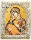Владимирская Богородица икона в ризе с классическим узором
