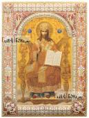 Спас на престоле икона в ризе окладе покрытом эмалью