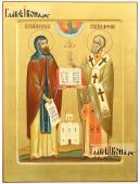 Святые Кирилл и Мефодий, рукописная икона на золотом фоне