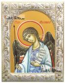 Ангел Хранитель, икона в ризе с классическим узором