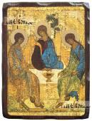 Троица икона состаренная на дереве
