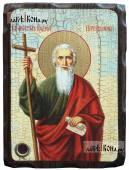 Андрей Первозванный икона под старину на дереве с мощевиком