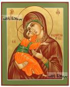 Владимирская Божия Матерь, рукописная икона с золочением фона