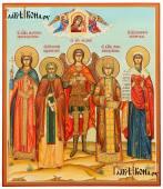 Семейная рукописная икона с 5-тью святыми, с Казанской и ангелами