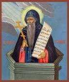 Икона рукописная: Никита Столпник с пробивающимися лучами
