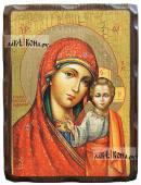 Казанская Божия Матерь (фряжеский стиль), состаренная икона, 18х24 см