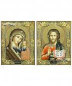 Казанская и Спаистель - венчальная пара печатных икон с рамками на полях
