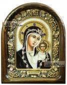 Казанская икона из бисера в бархате