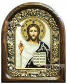 Господь икона бисером с синим бархатом
