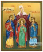София, Вера, Надежда, Любовь, писаная икона с золочением фона